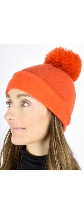 Gemini Label  Ripley Faux Fur Pom Beanie Hat Winter Orange