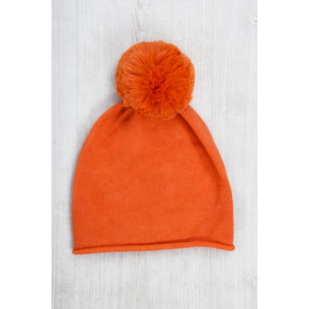 Gemini Label  Ripley Faux Fur Pom Beanie Hat - Orange