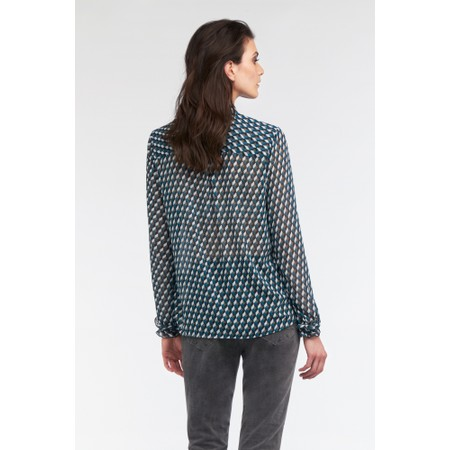 Sandwich Clothing Geometric Cube Print Blouse - Blue