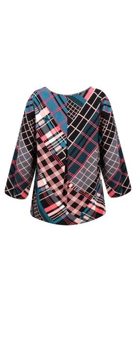 Sandwich Clothing Bold Multi Check Print Top Intense Pink