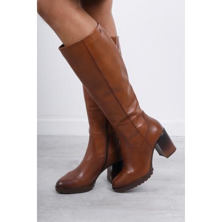Tamaris Hibiscus Heeled Long Boot - Brown