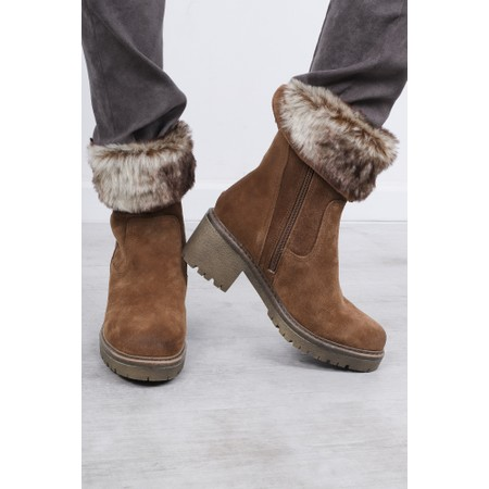 Marco Tozzi Cugy Fur Trim Calf Boot - Brown