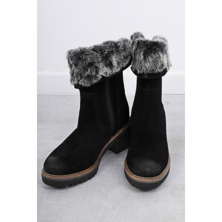 Marco Tozzi Cugy Fur Trim Calf Boot - Black