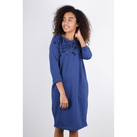 Sandwich Clothing Paisley Detail French Terry Long Jumper Dress - Blue