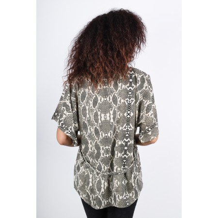 French Connection Snakeskin Belted Top - Off-White