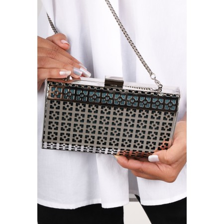 Bell & Fox Samia Geometric Metal Clutch - Silver