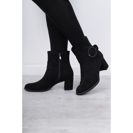 Marco Tozzi Lodie Buckle Detail Ankle Boot - Black