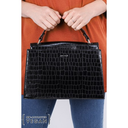 Inyati Olivia Croco Top Handle Bag - Black