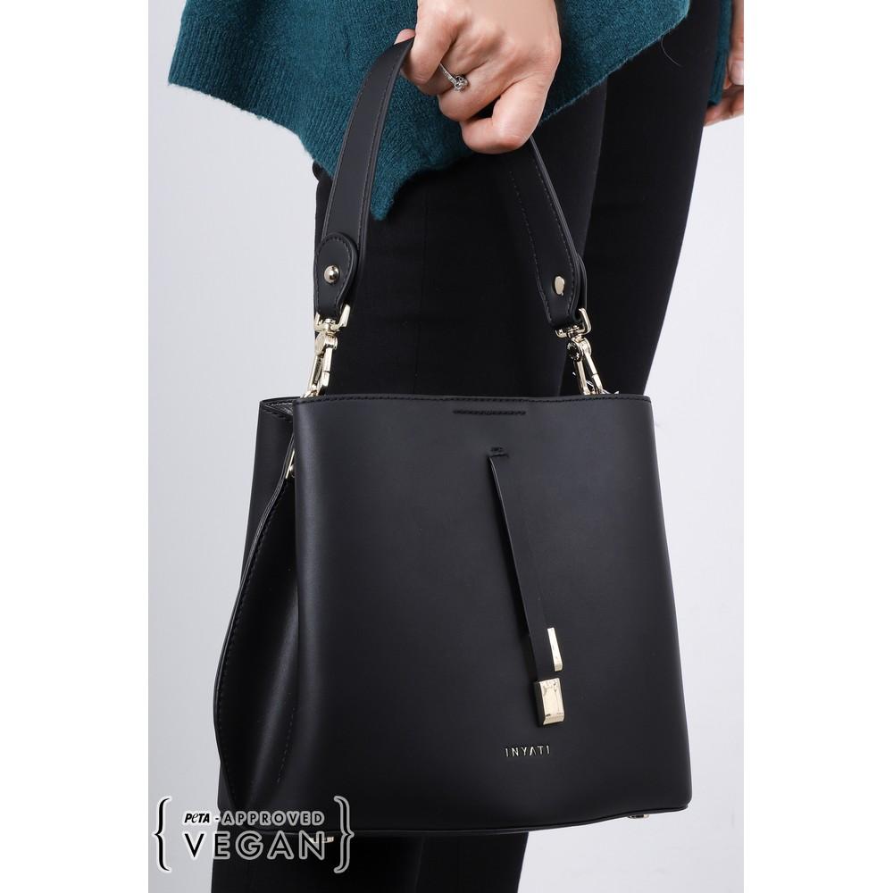 Inyati Cleo Faux Leather Bucket Bag  Black