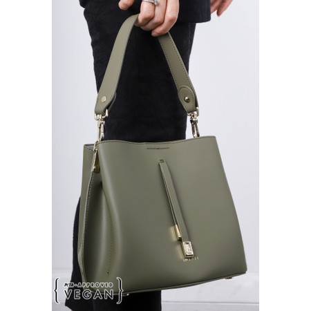 Inyati Cleo Faux Leather Bucket Bag  - Green
