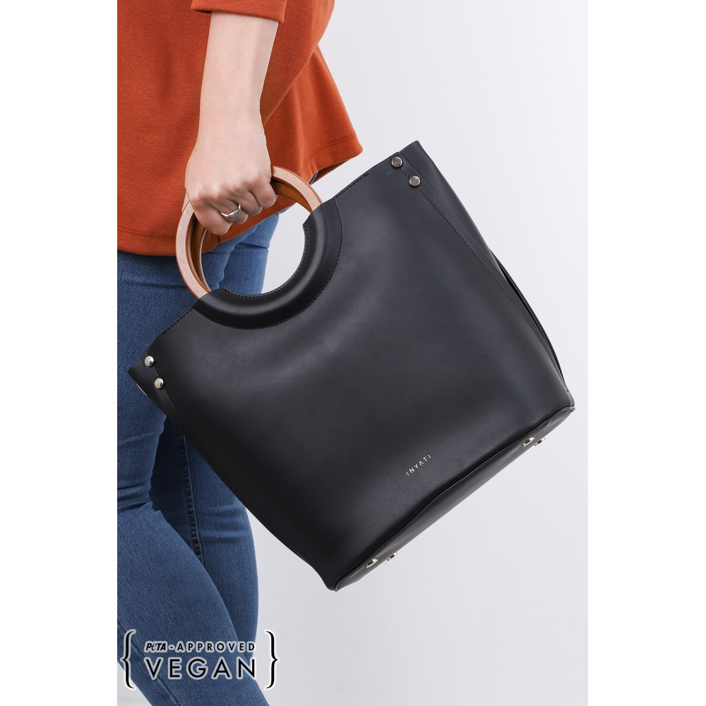 Inyati Viviana Faux Leather Top Handle Bag Black