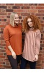 BY BASICS Off White/Rust 0/133 Clara Easyfit Organic Cotton Roll Neck Top