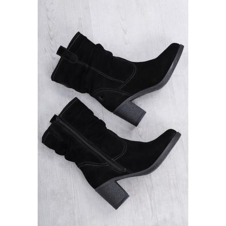 Tamaris  Resiea Slouch Calf Length Suede Boot - Black