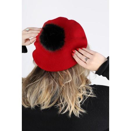 Helen Moore Pom Pom Faux Fur Beret - Red