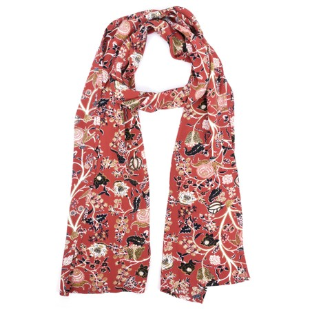 Masai Clothing Along Red Floral Scarf - Red
