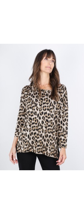 Masai Clothing Bluma Leopard Top Ginger Org
