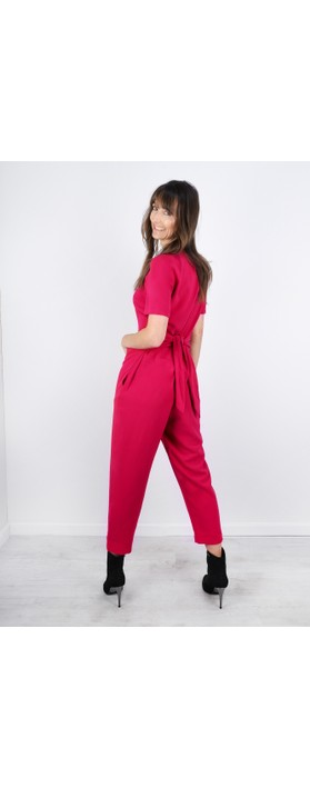 Great Plains Soho Drape Tie Waist Jumpsuit Cerise