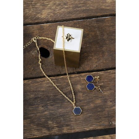 Bill Skinner Filigree Mini Hexagon Pendant Necklace - Blue