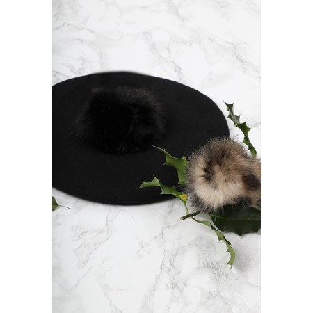 Helen Moore Pom Pom Faux Fur Beret - Black