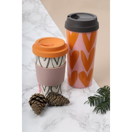 Caroline Gardner Hearts Outline Bamboo Reusable Coffee Cup - Orange