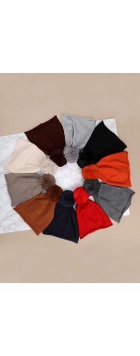 Gemini Label Accessories Ripley Faux Fur Pom Beanie Hat Light Grey