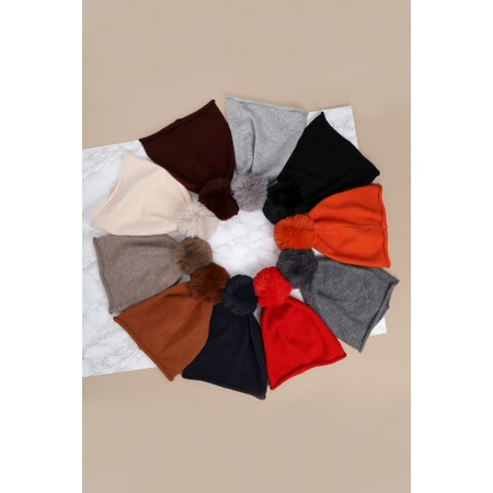 Gemini Label Accessories Ripley Faux Fur Pom Beanie Hat - Grey