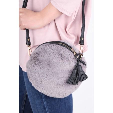 Gemini Label  Nala Faux Fur Round Bag - Black