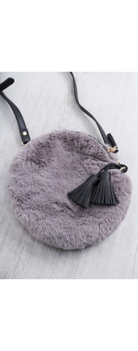Gemini Label  Nala Faux Fur Round Bag Charcoal