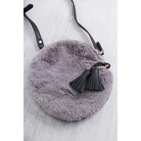Gemini Label Bags Nala Faux Fur Round Bag - Black