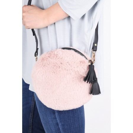 Gemini Label  Nala Faux Fur Round Bag - Pink