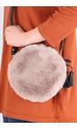 Gemini Label Bags Taupe Nala Faux Fur Round Bag