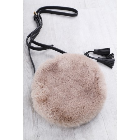 Gemini Label  Nala Faux Fur Round Bag - Brown