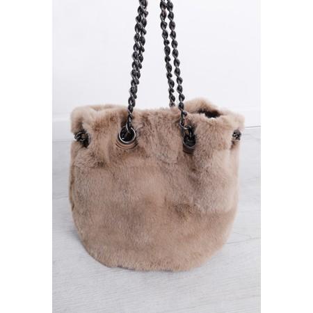Gemini Label  Ariel Faux Fur Bucket Bag - Beige