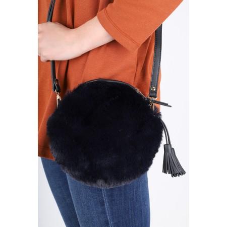 Gemini Label  Nala Faux Fur Round Bag - Blue