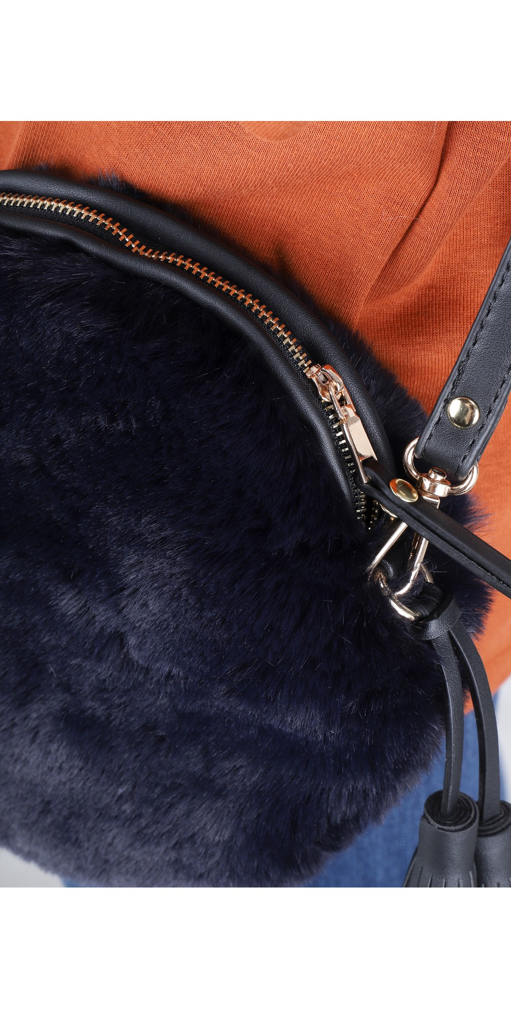 Nala Navy Faux Fur Round Bag main image
