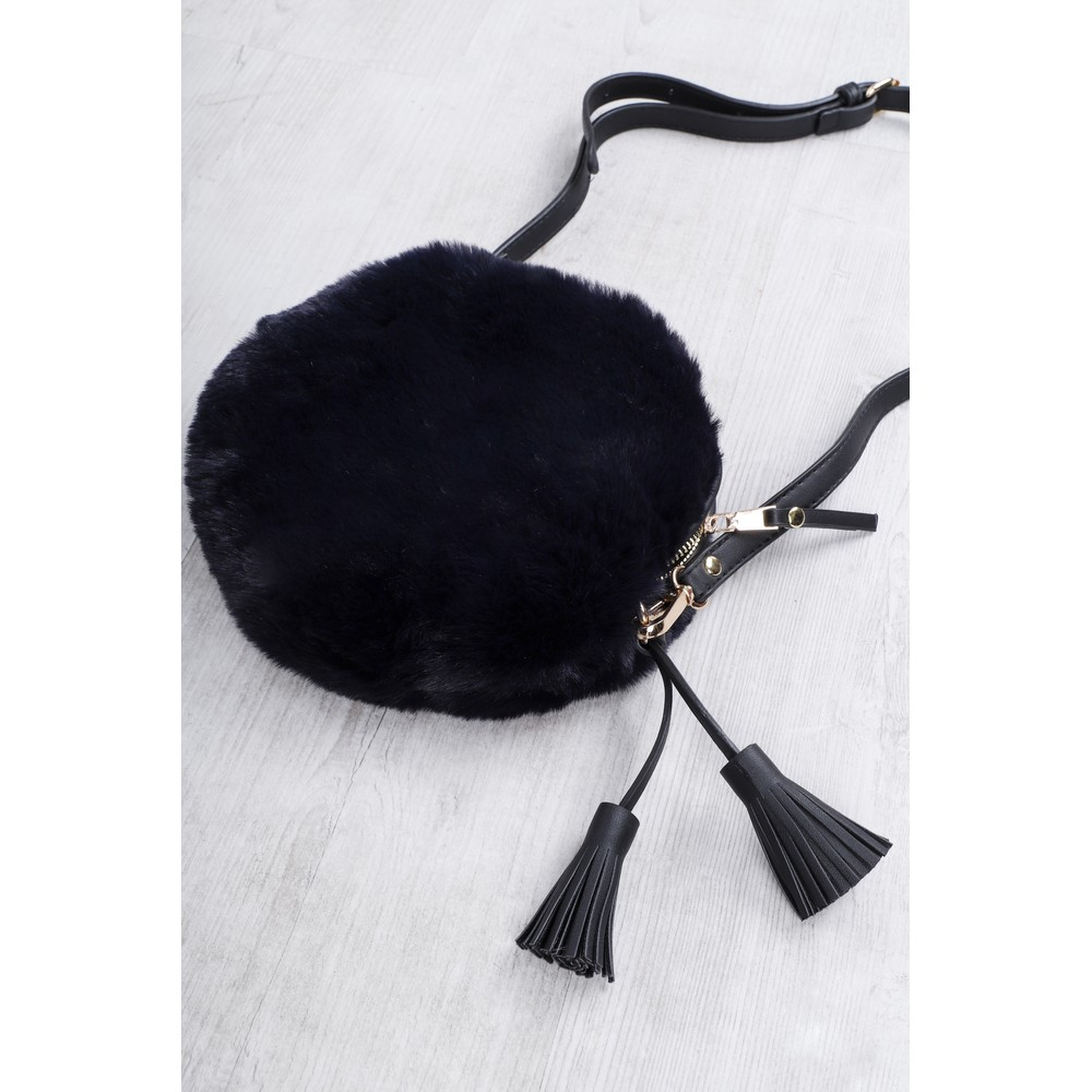 Gemini Label Bags Nala Navy Faux Fur Round Bag Navy