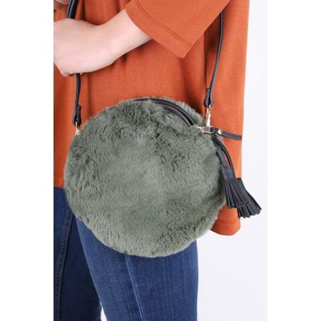 Gemini Label  Nala Faux Fur Round Bag - Green