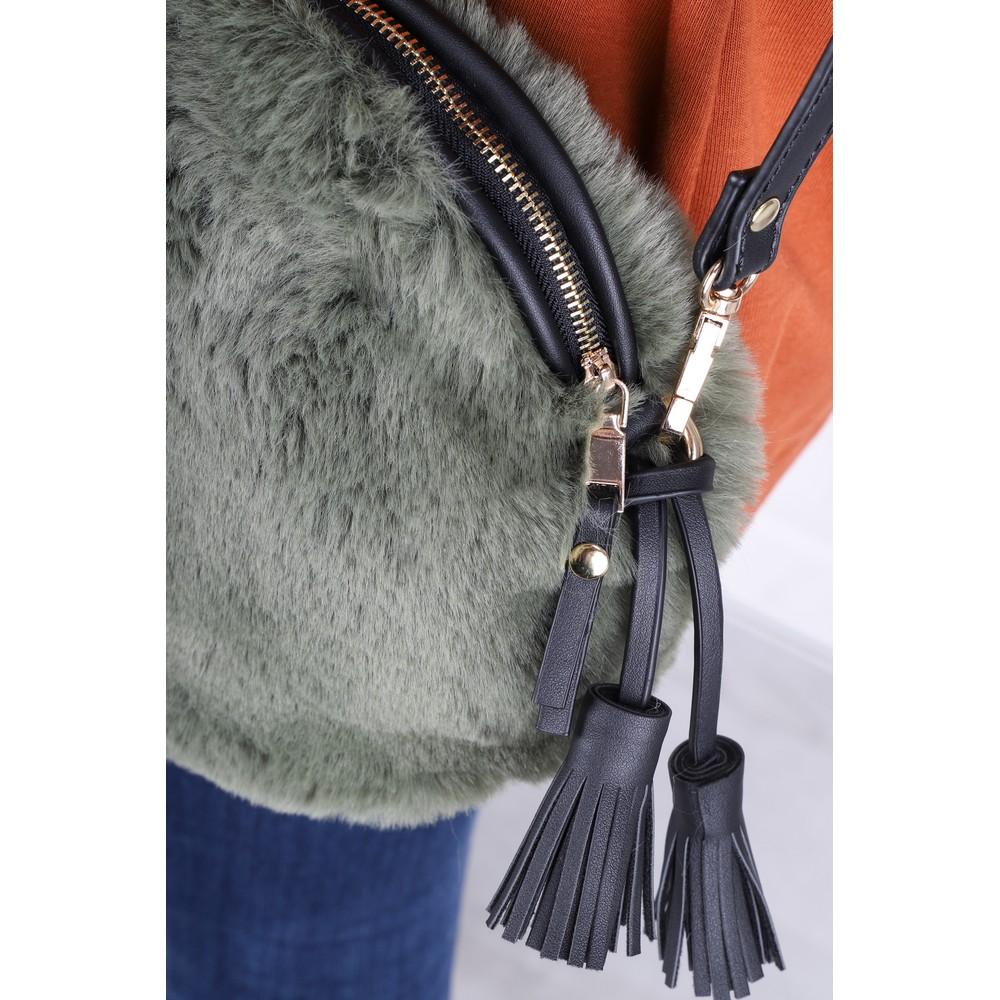 Gemini Label  Nala Faux Fur Round Bag Green