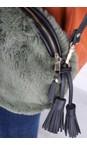 Gemini Label  Green Nala Faux Fur Round Bag