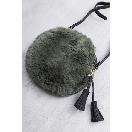 Gemini Label  Nala Faux Fur Round Bag - Green