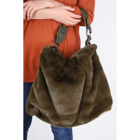 Gemini Label  Hebe Faux Fur Tote Bag - Green