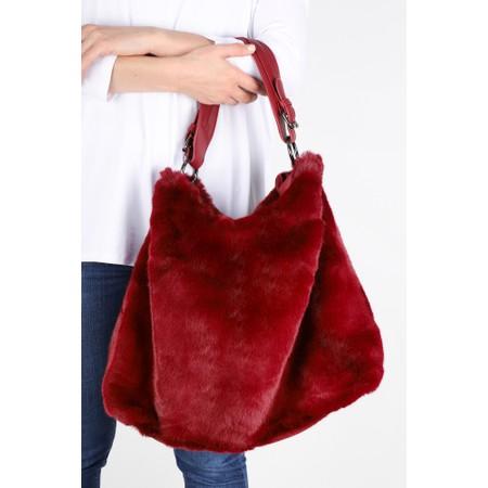 Gemini Label  Hebe Faux Fur Tote Bag - Red