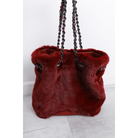 Gemini Label  Ariel Faux Fur Bucket Bag - Red