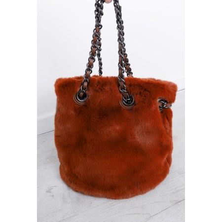 Gemini Label  Ariel Faux Fur Bucket Bag - Brown