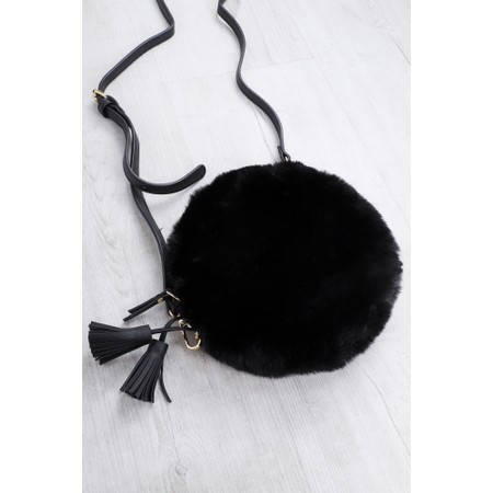 Gemini Label  Nala Faux Fur Round Bag - Black