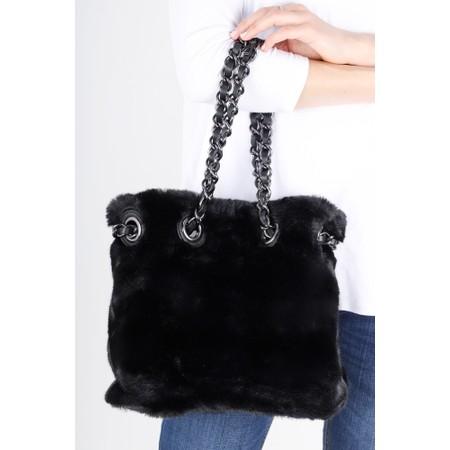Gemini Label  Ariel Faux Fur Bucket Bag - Black