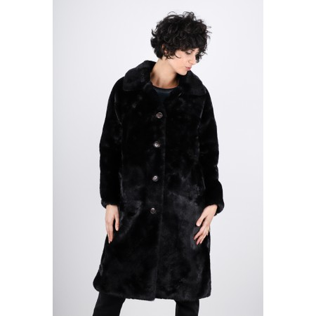RINO AND PELLE Zonna Longline Faux Fur Coat - Black