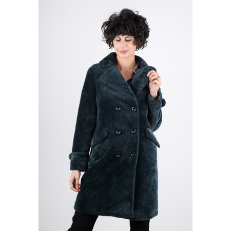 RINO AND PELLE Gala Faux Fur Double Breasted Coat - Green