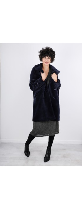 RINO AND PELLE Gala Faux Fur Double Breasted Coat Navy