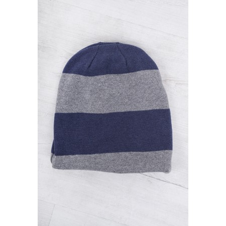 Mama B Kaki Stripe Hat - Blue